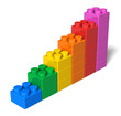 Growing bar chart from color toy blocks