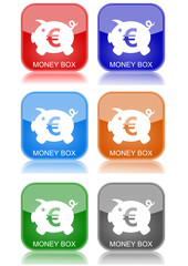 "Money box  ""6 buttons of different colors"""