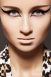 Fashion model with cat eye liner make-up, leopard print scarf