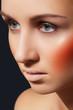 Beautiful woman model with make-up, bright blusher