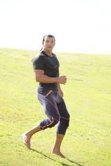 Man running in the field