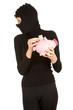 female thief with piggy bank