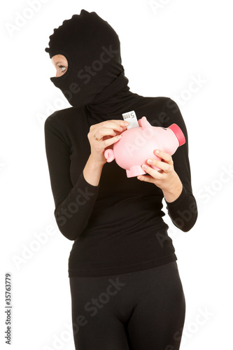 Poster female thief with piggy bank