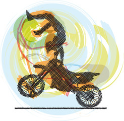 Abstract sketch of biker