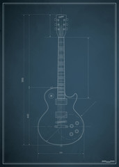 blueprint electric guitar with the dimensions on paper