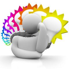 Thinker Colorful Light Bulbs Thinking Man Dreaming Ideas
