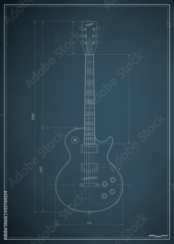 blueprint electric guitar with the dimensions on paper - 35764334