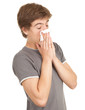 sick young man with flu blowing her nose, series