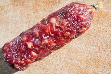 italian salami on wooden board