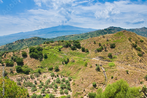 view on Etna in summer day