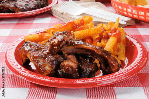 Barbecue ribs and french fries