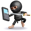 3d Ninja uses a mobile phone unconventionally