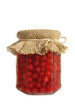 Canned red currant berries in jar - isolated