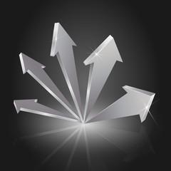 Metallic 3D Arrows