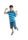 Teen boy prosperity success leap poster