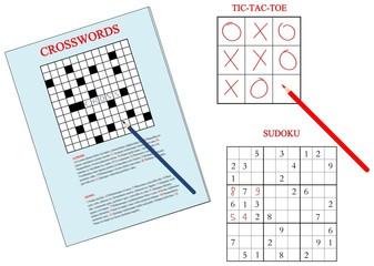 jeux: mots croises, sudoku, tic tac toe