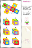 Visual math puzzle with folded cubes