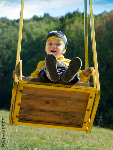 Cute little boy on a swing