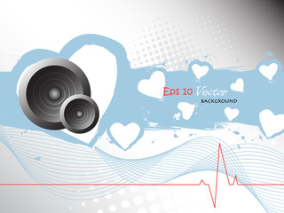 abstract heart beat illustration with speaker