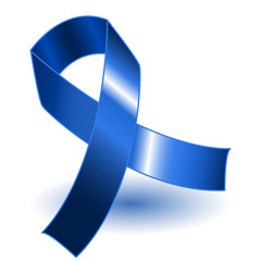 Dark blue awareness ribbon and shadow