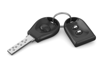 Automobile key and alarm system on white background. Isolated 3D
