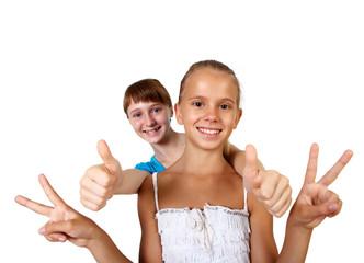 two teenage girls together