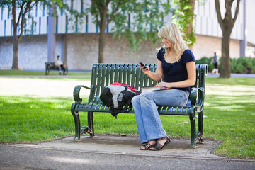 College girl using cell phone