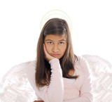girl with angel wings and halo poster