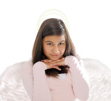 beautiful girl with angel wings and halo poster