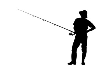 Silhouette of a fisherman holding a fishing pole