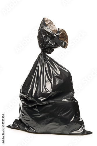 A studio shot of a garbage bag