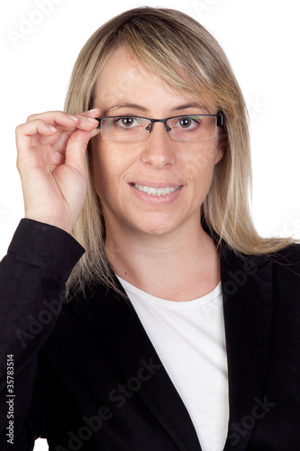 Blonde businesswoman with glasses