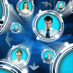 Business people in cyberspace