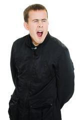 Lazy man yawns on a white background.