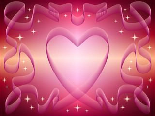heart of the ribbons on a pink background with stars