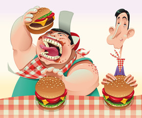 Guys with hamburgers. Cartoon and vector illustration.