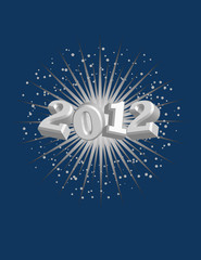 2012 with Starburst Background! Vector / Clip Art
