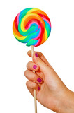 Bunter Lolli in der Hand