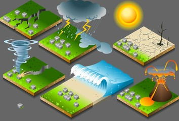isometric natural disaster, earthquake and eruption