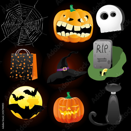 Halloween Icons. Vector illustration.