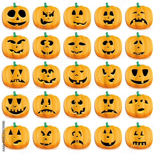 Big set of halloween pumpkins or Jack O`Lantern