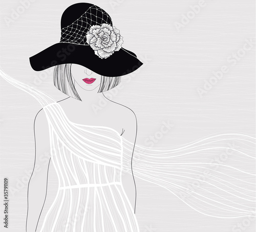 Elegant background with women in beautiful white dress. Female w - 35791109