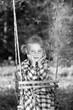 Beauty little girl on a swing