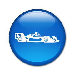 Boton brillante simbolo coche de carreras