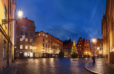Stortorget (The Big Square) at Chritmas time, Stockholm, Sweden