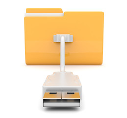 Folder 3d icon. USB onnect . Isolated