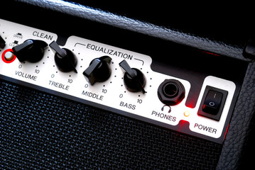 Guitar music amplifier close-up