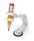 Robotic hand holding pencil 3d. Artificial intelligence. Isolate