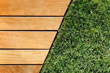 Wood and grass divided by a diagonal