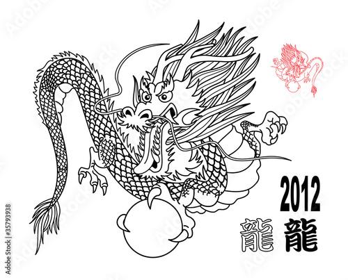龙 线画2012